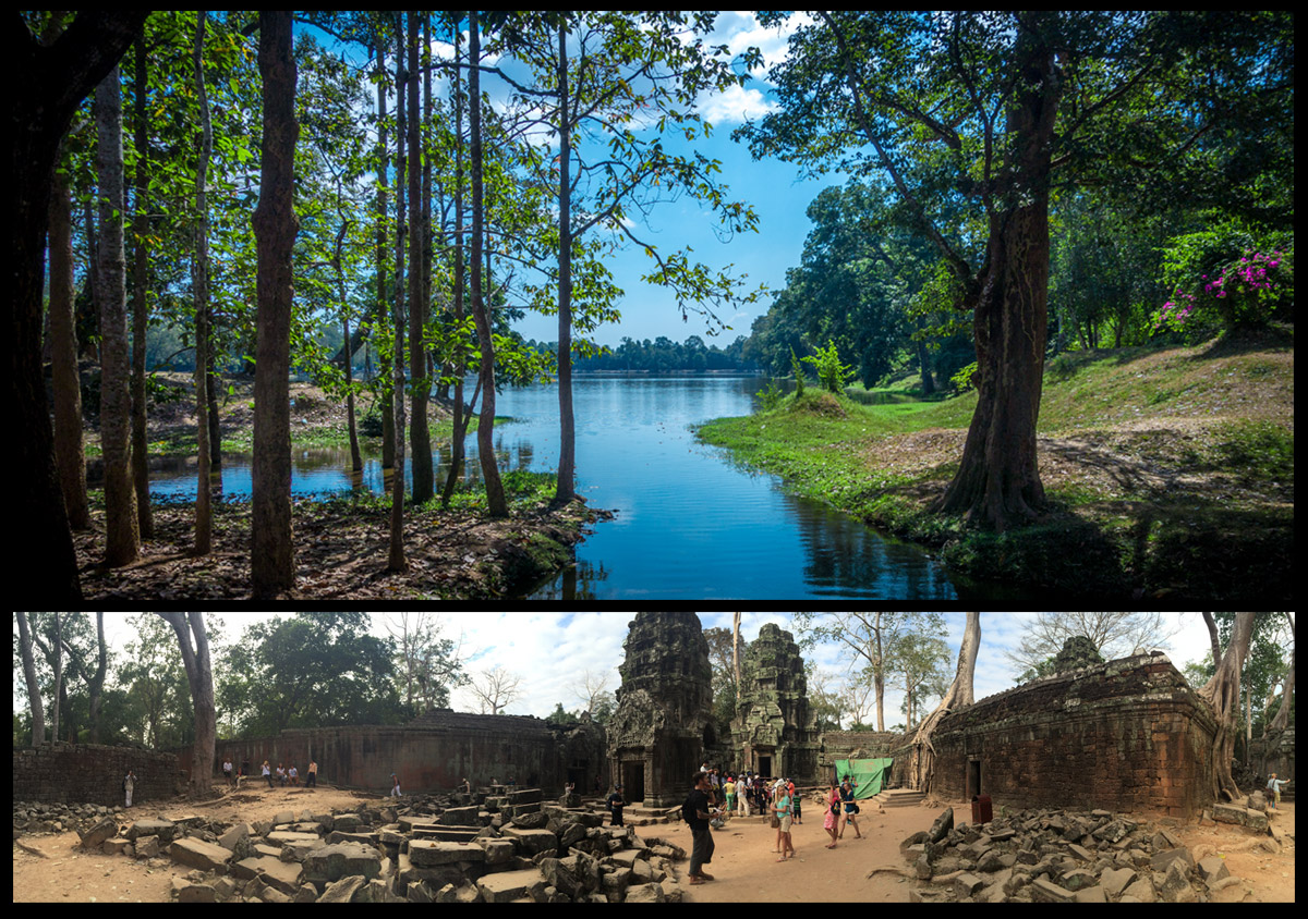 Above: A small part of the massive moat surrounding Angkor Wat. Below: The ruins of Ta Prohm.