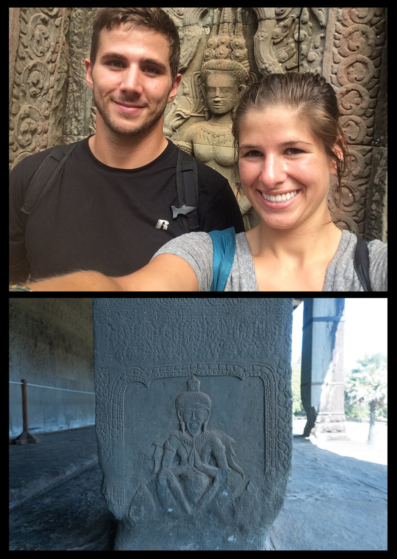 Above: Selfie with some amazing carvings at Ta Prohm. Below: Meditation Man at Angkor Wat.