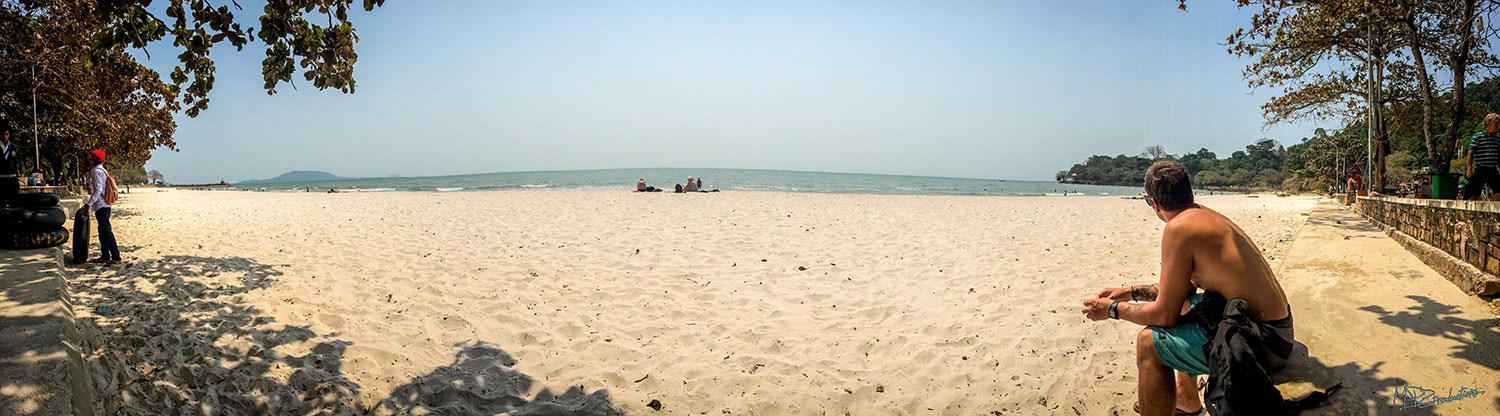 Kep Beach- letting the food settling while we waited for our bus.