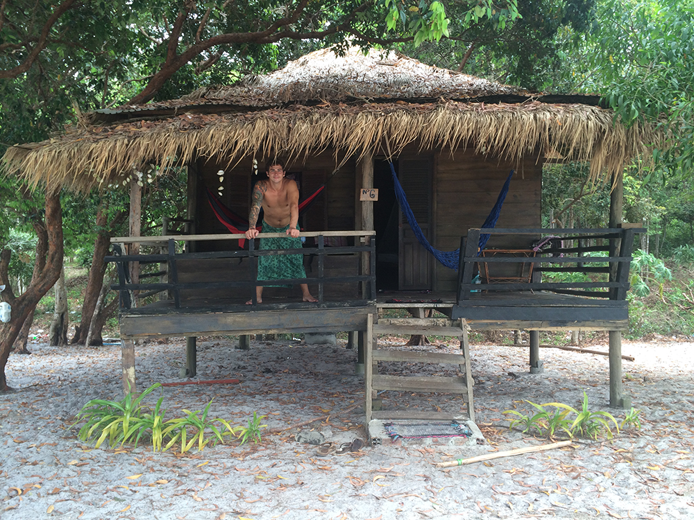 Our luxurious bungalow. We spent quite a lot of time in those hammocks!
