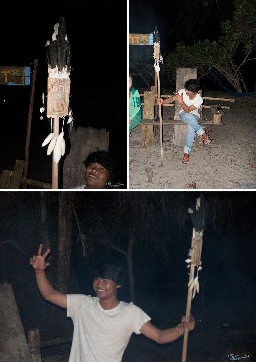 Two Finnish guests (Anna and Edo) made Nak a shaman stick on our last night!