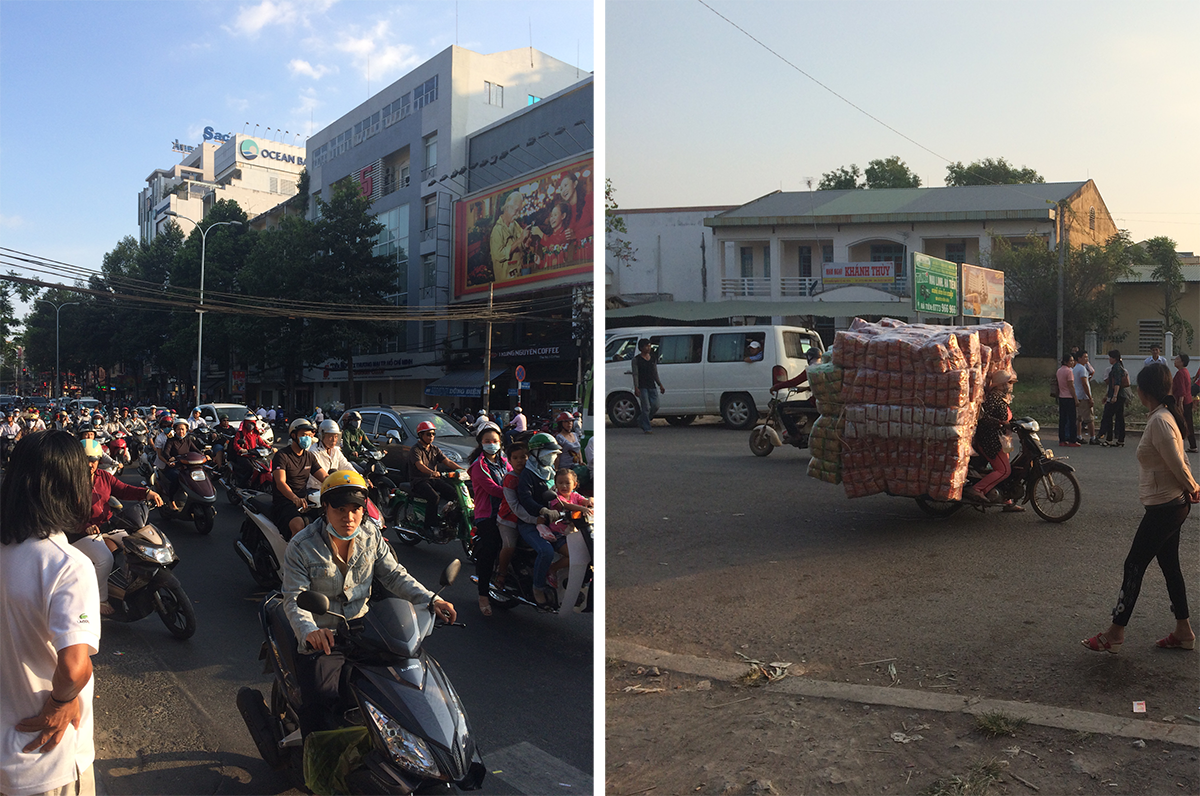 Left: Massive traffic (this was light compared to the night time traffic)! Right: Lady carrying 8 million pounds of food on her small motorbike! WOW!