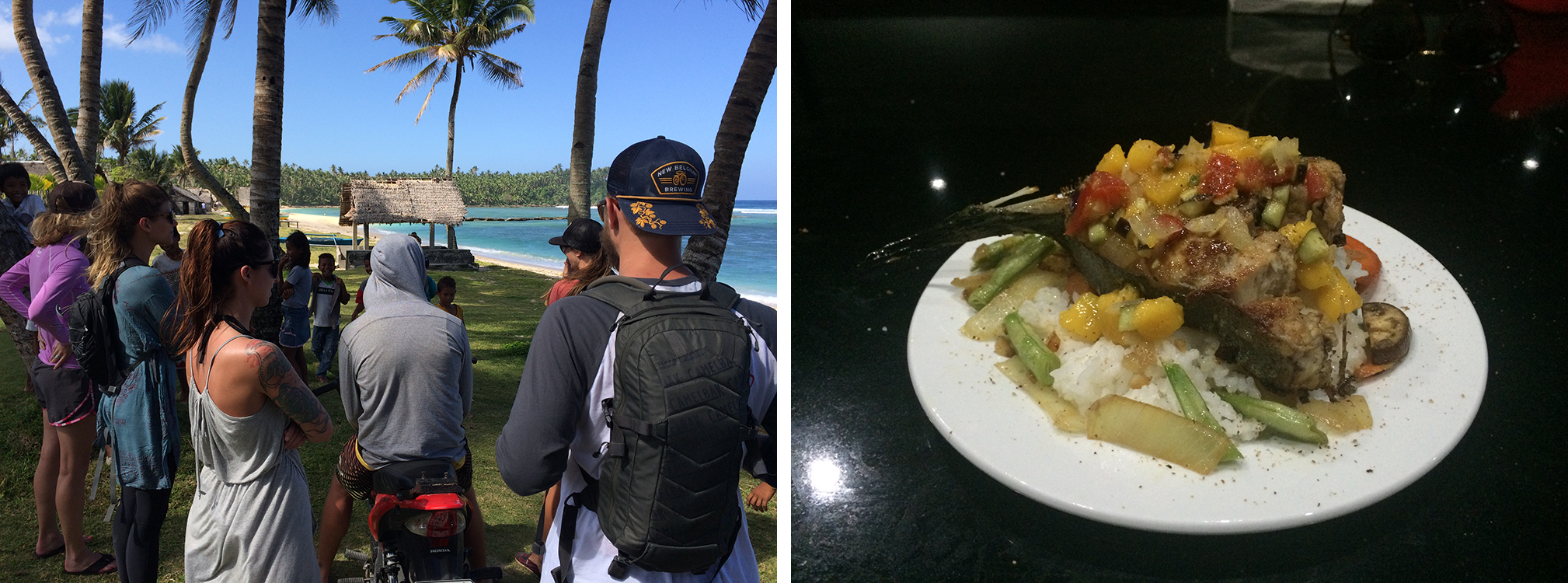 Left: Swarmed by kids. Right: Homemade Mahi Mahi Steaks.