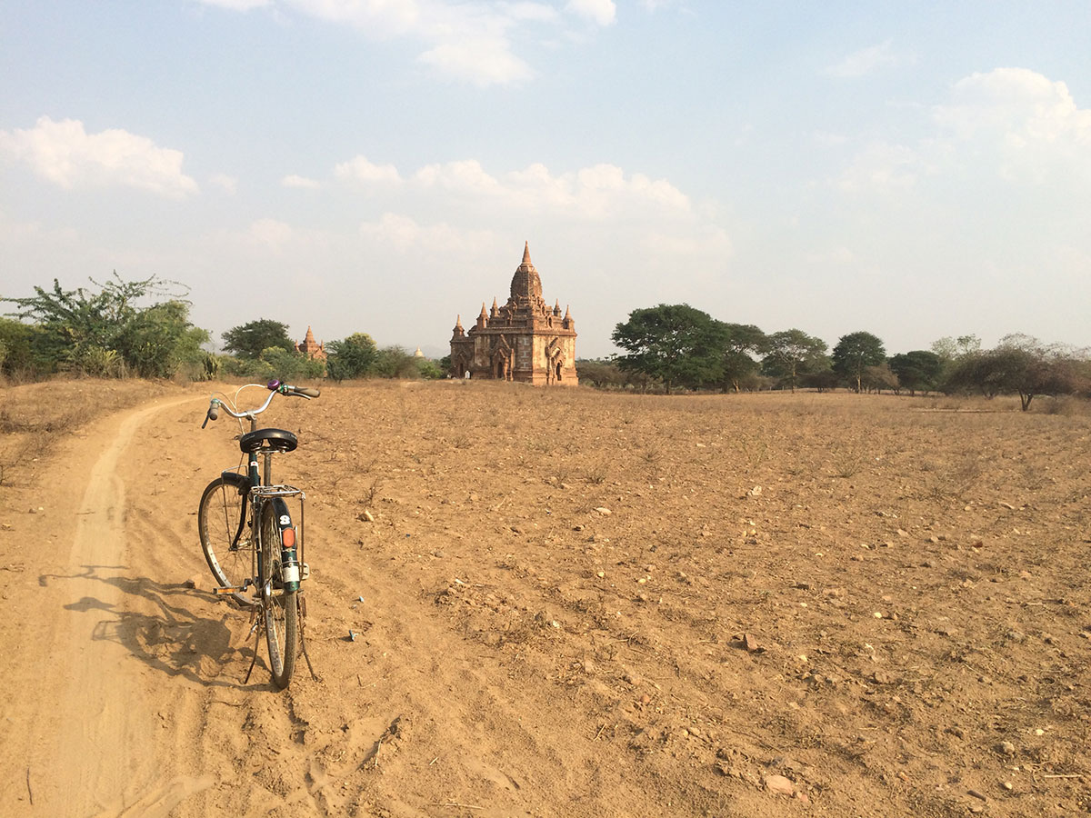 Biking on the dirt, sand roads.