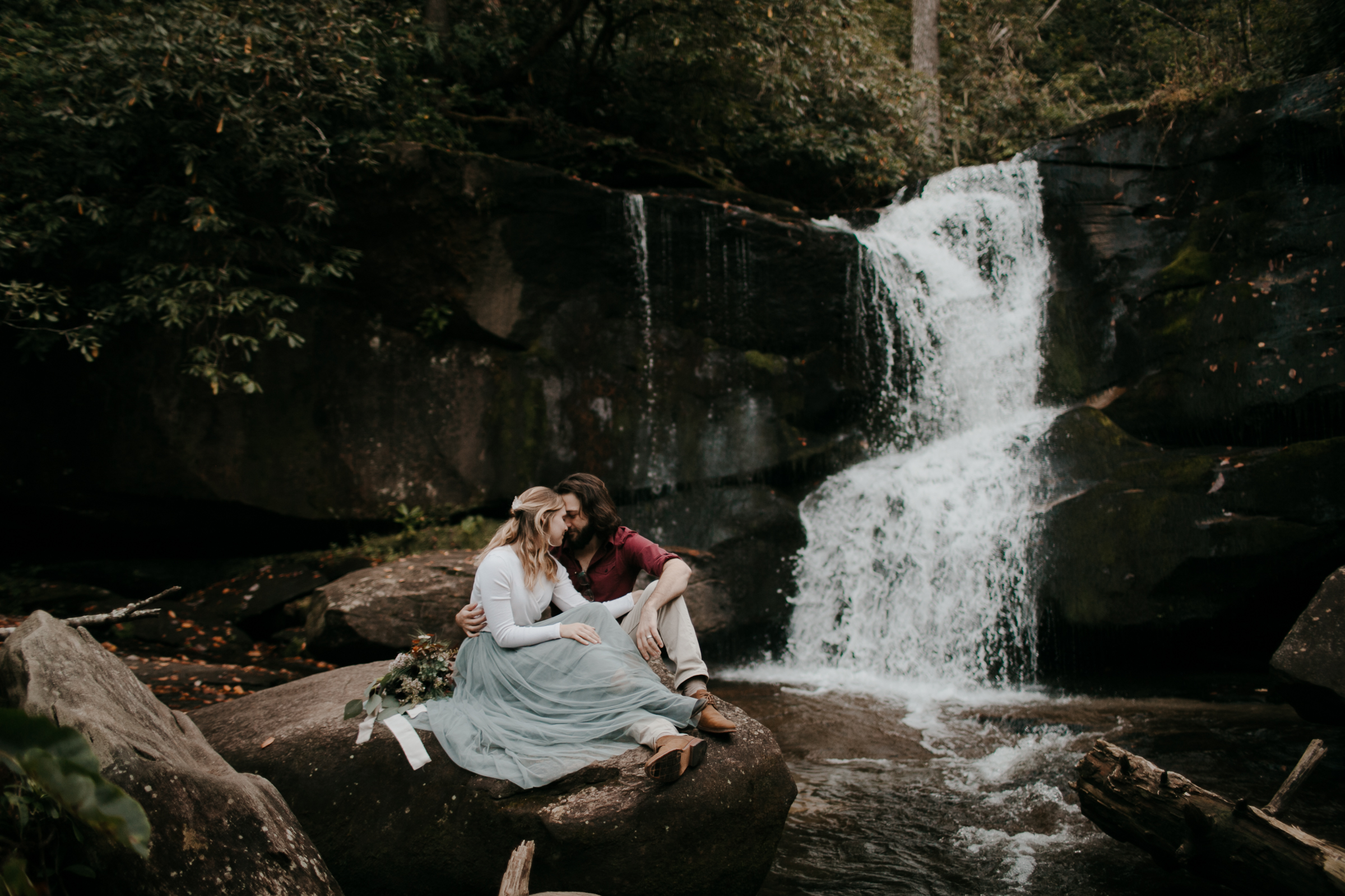 Photography Anthology - Asheville Elopement Engagement Photos In The Mountains Fall Waterfall (5 of 5).jpg