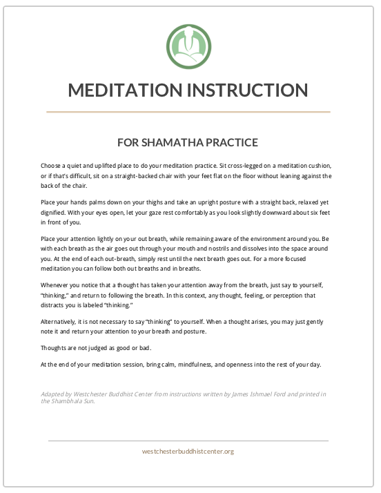 Our Meditation Practice — Westchester Buddhist Center