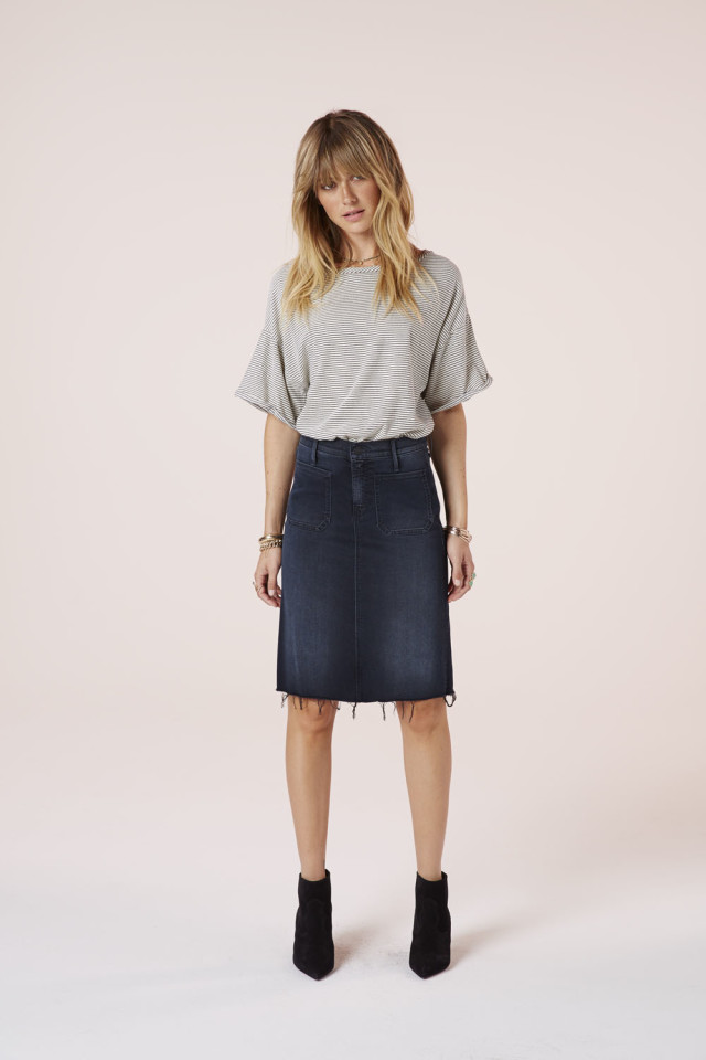 Mother Denim A KISS IN THE DARK HIGH WAISTED PATCHIE FRAY SKIRT #MotherLovesYou #TresChicMedia TresChicNow.com