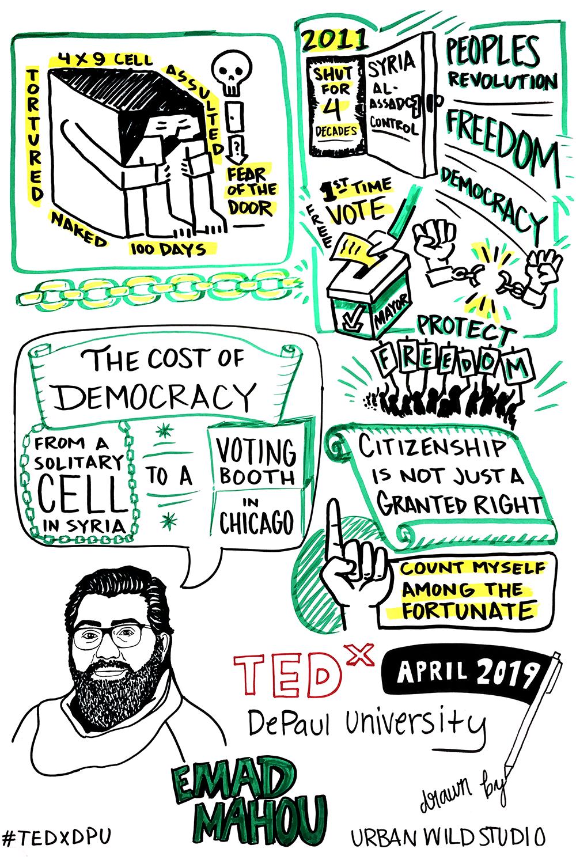 TEDxDPU_EmadMahou_heCostOfDemocracyFromaSolitaryCellinSyriaToAVotingBooth.png