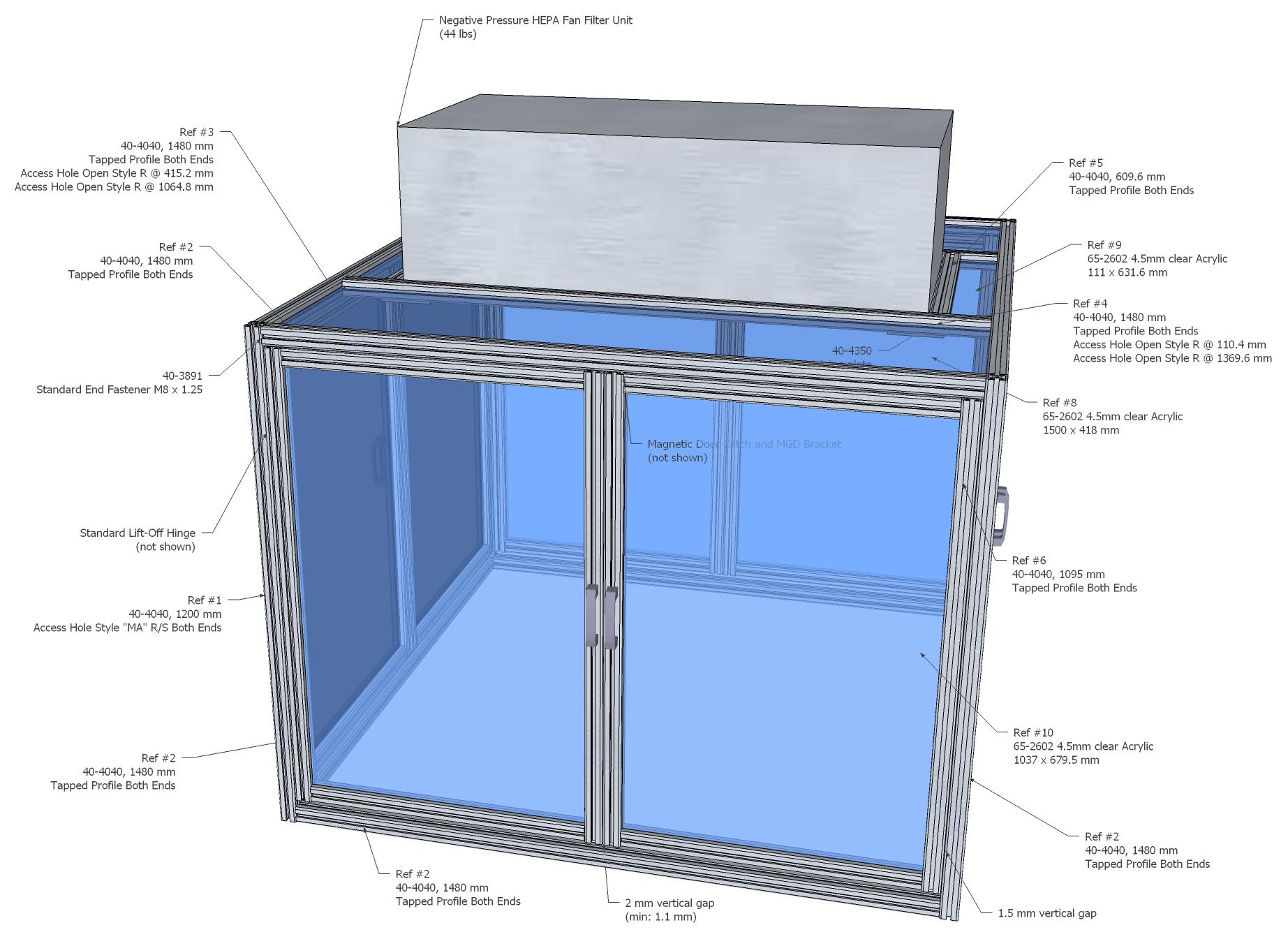 Design for negative-pressure biosafety enclosure.