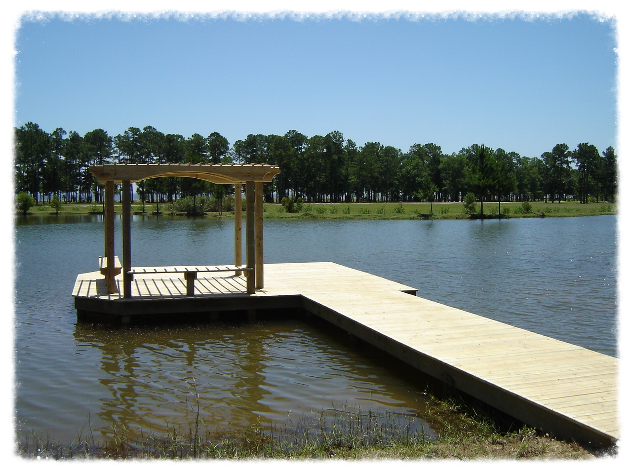 Fishing Pier with Pergola and Bench