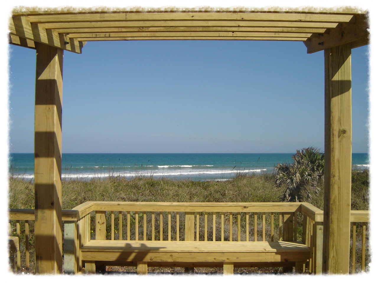 Boardwalk with Bench and Shade Trellis