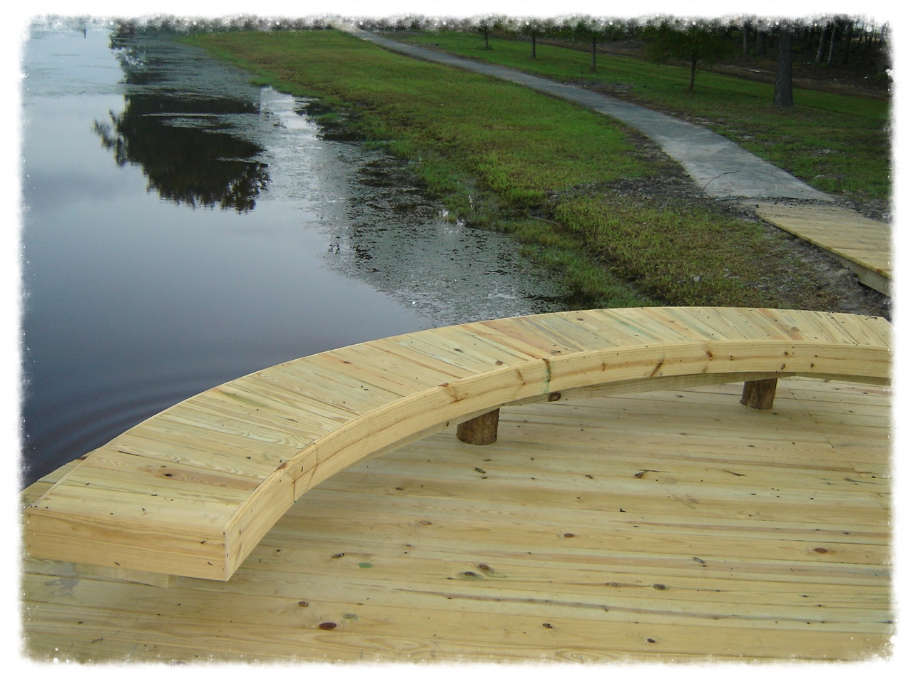 Wood Dock with Boardwalk