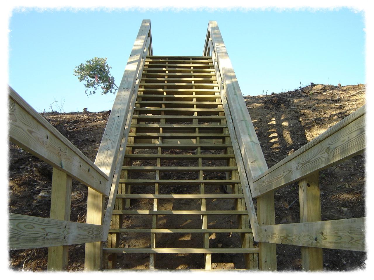 Wooden Boardwalk Stairs