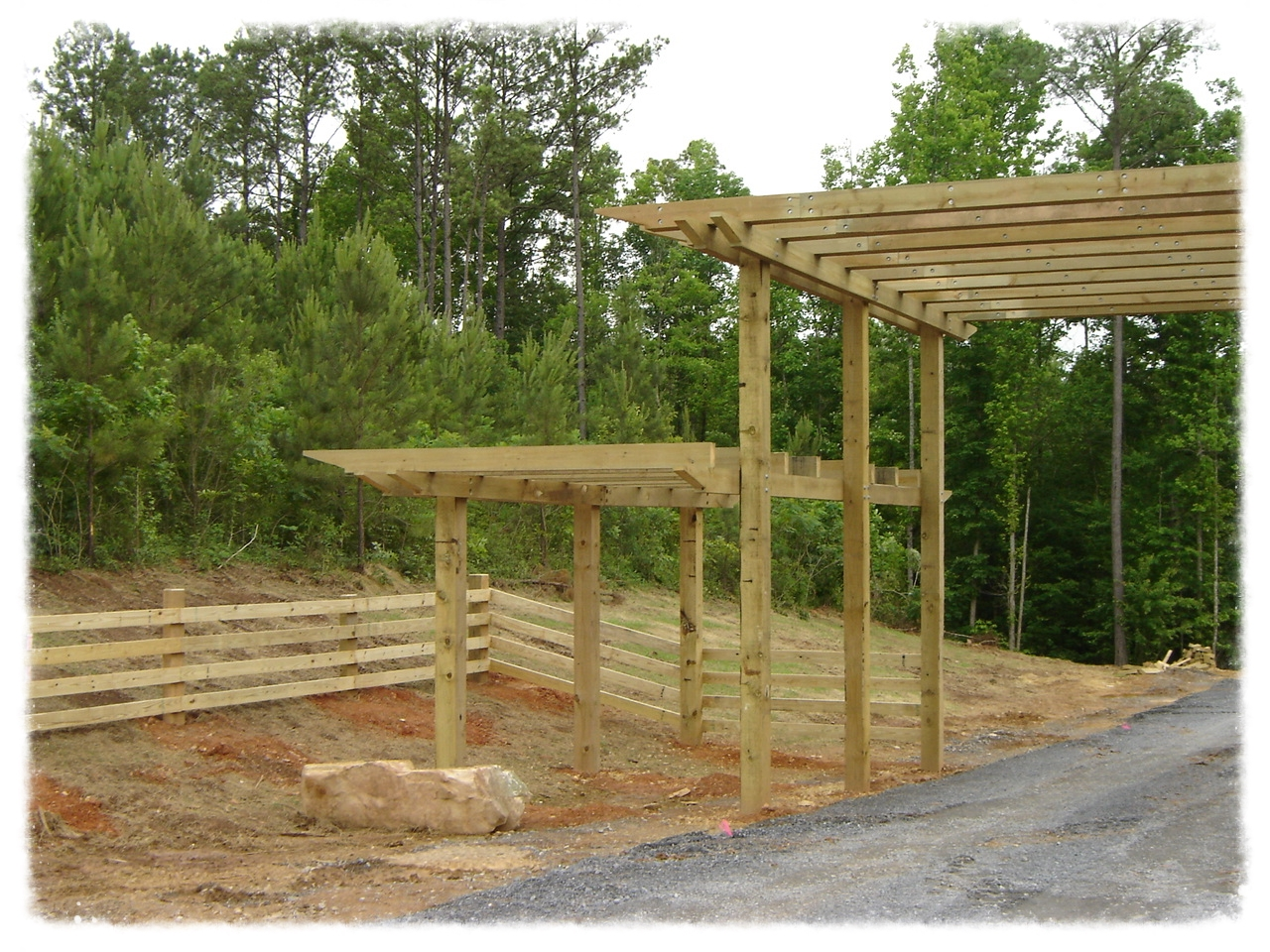 Pergola and Wood Fence