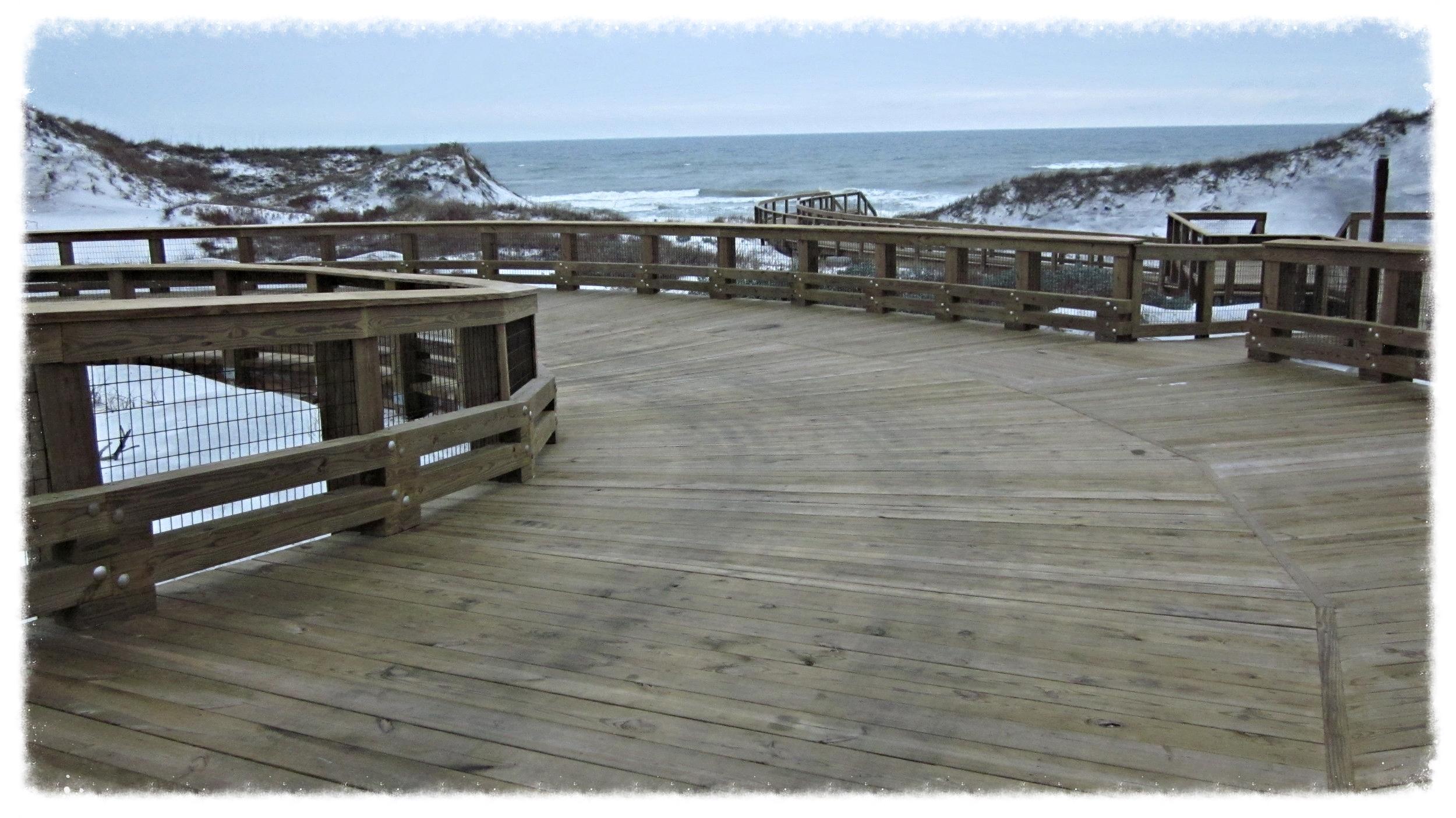 Wood Boardwalk and Beach Access