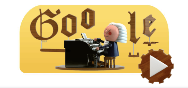 Today's Google Doodle, in honor of Bach's 334th birthday