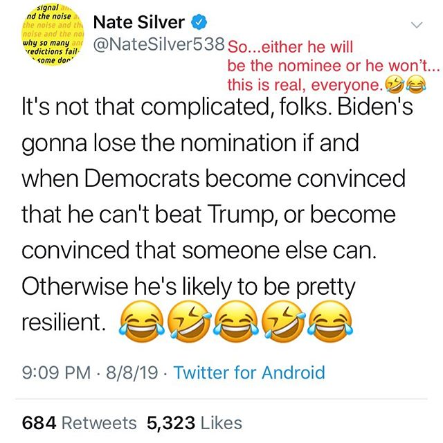 Let's pause for a moment and recognize the brilliant insights of Nate Silver. 🤪🤪🤪