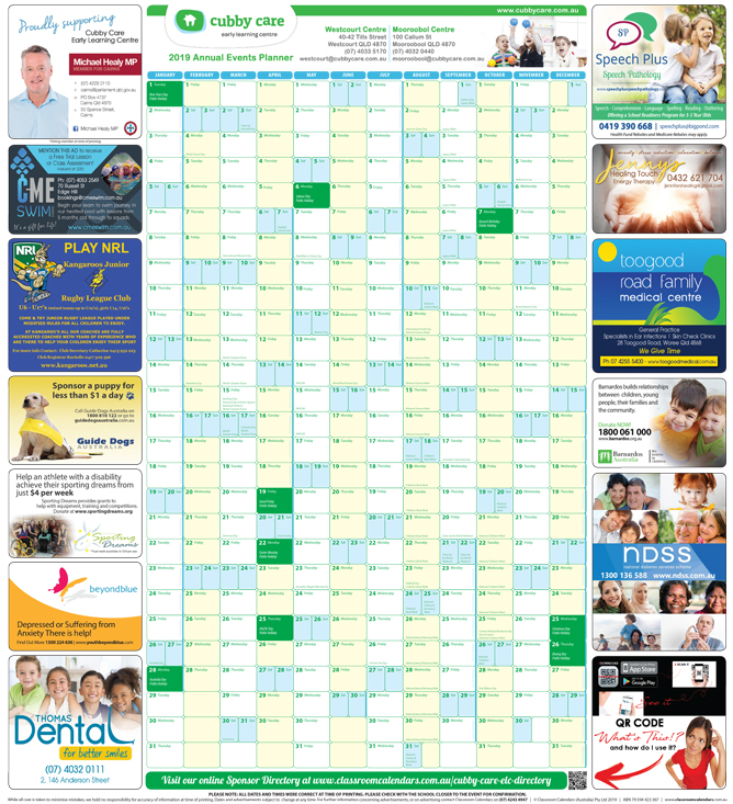 Cubby Care Early Learning Centre 2019 Events Planner