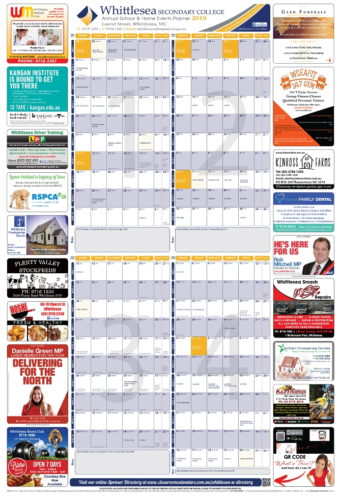 Whittlesea Secondary College 2019 Events Planner