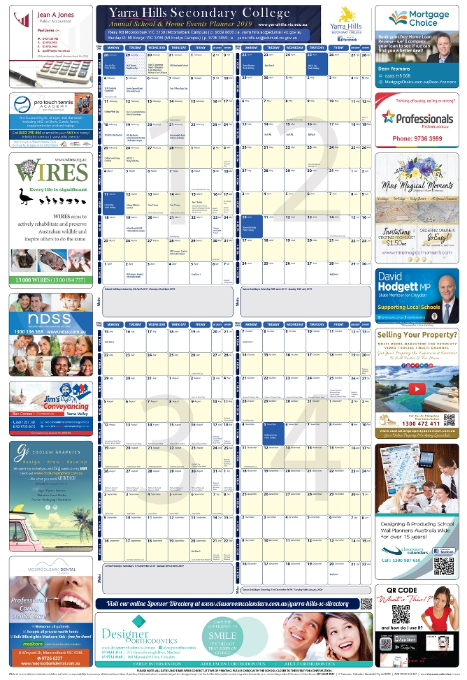 Yarra Hills Secondary College 2018 Events Planner