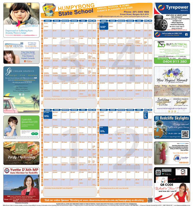Humpybong State School 2019/2020 Events Planner