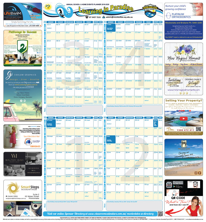 Mooloolaba State School 2019/2020 Events Planner