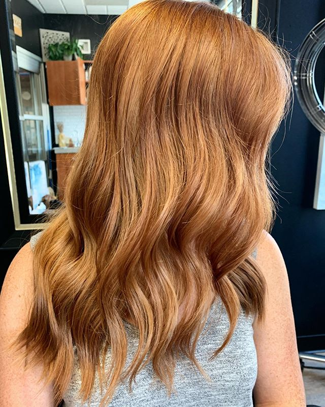 Talk about fall hair inspo 😍 Took this gal back to her natural ❤️🧡💛 . . . . Wish I got a before pic buttt we have been highlighting her hair for the summer so I decided to just use all Demi color to create this look. . FORMULA:  Filled with 7CC+8WG redden shades eq gloss then I used 6CB+6RB+7CC #shadeseqgloss to create the color we were going for. She wanted a richer red than her natural which is more of a strawberry blonde.