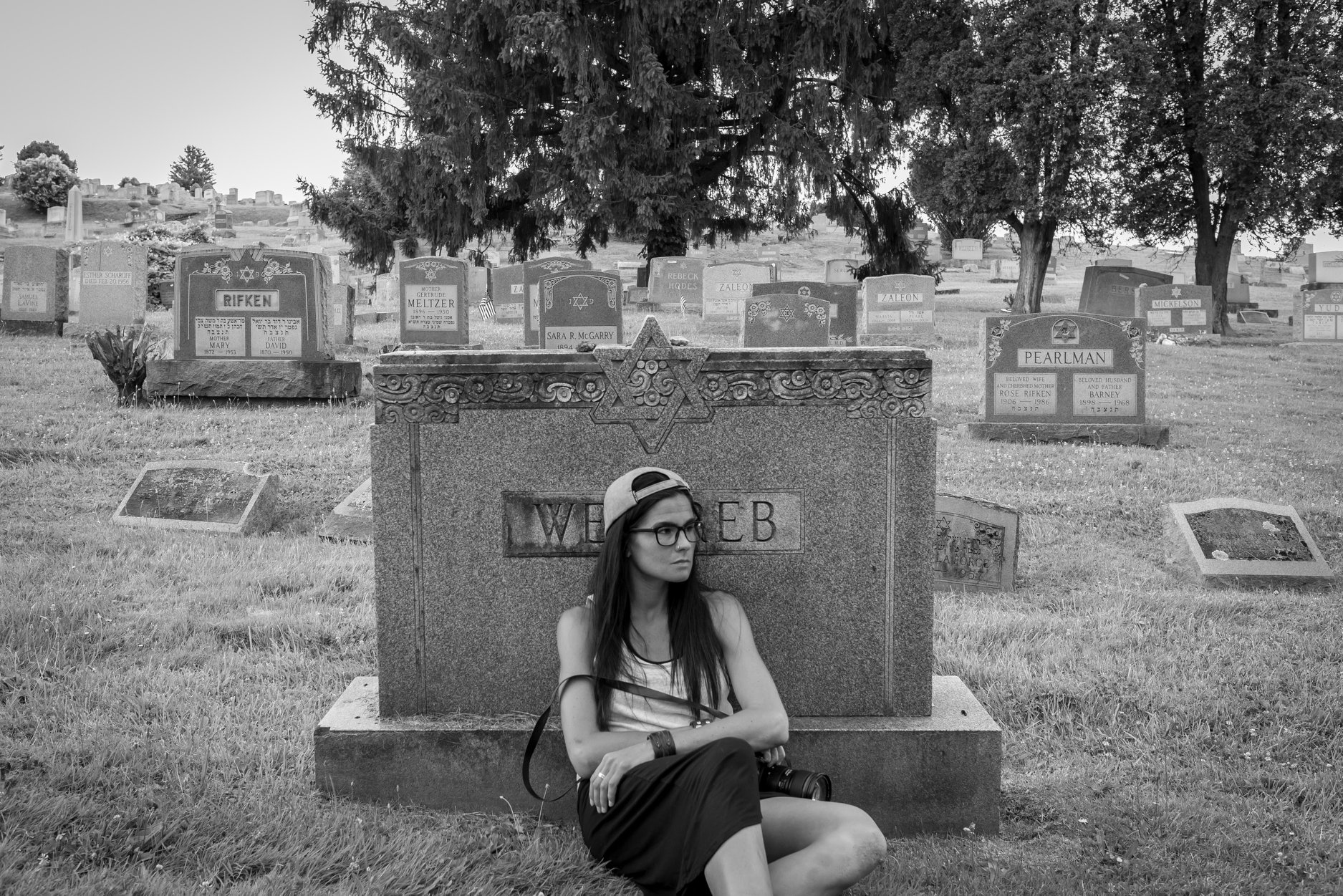 My first assignment was a self-portrait; I was and continue to be drawn to the cemetery near my house.