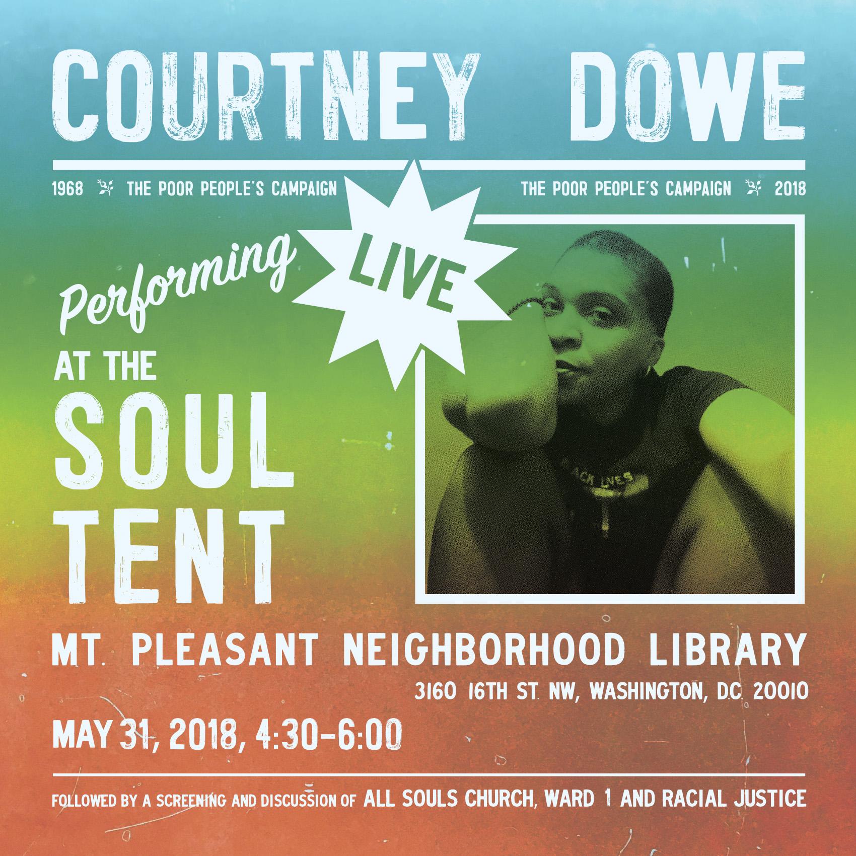 Flier for Courtney Dowe performance, 2018 (design by Joshua Gamma)