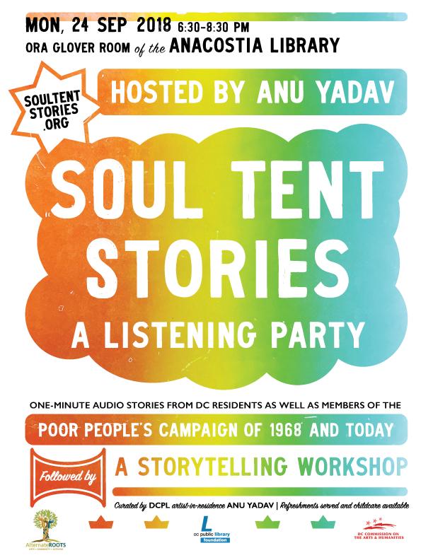 Soul Tent Stories  flier, 2018 (design by Joshua Gamma)