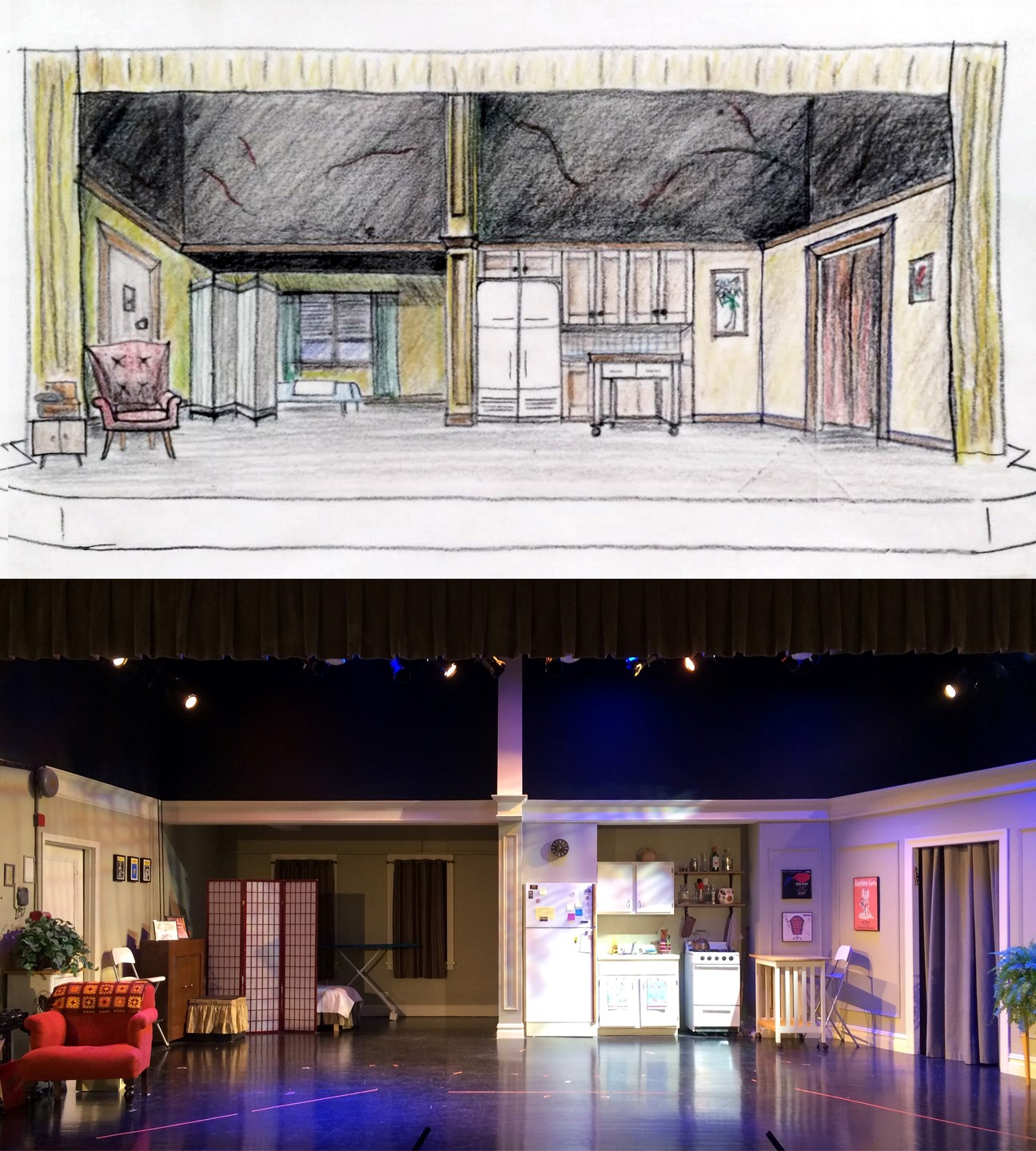 Above, an early design sketch; Below, the completed set.