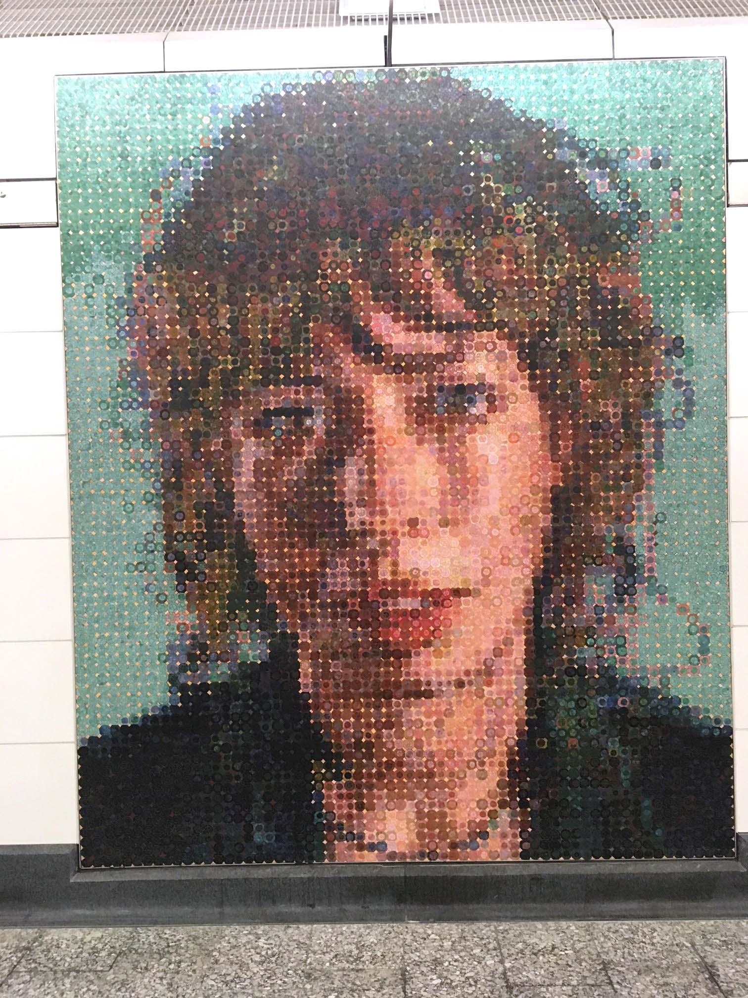 "t the 86 Street Station, Chuck Close's ""Subway Portraits"""