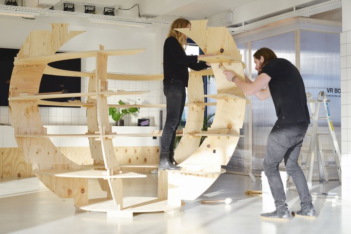 Assembly instructions are similar to other Ikea products. Here the Growroom is assembled by its architects, Sine Lindholm and Mads-Ulrik Husum.