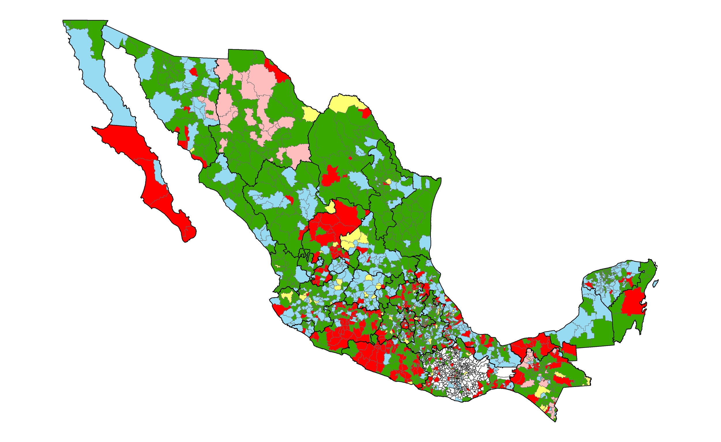 Partisanship of Mexican municipalities, 2002.