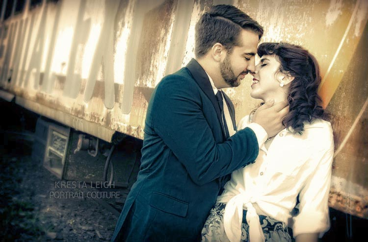 Ogden Utah vintage train engagement shoot