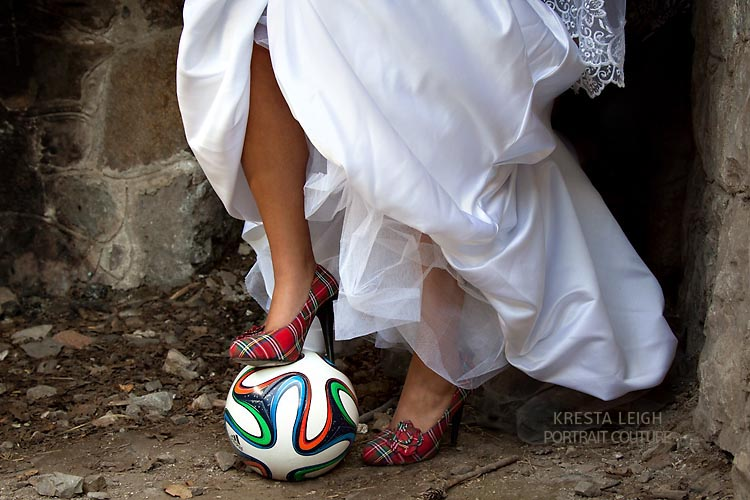 She is a fantastic soccer player and makes a beautiful soccer bride!