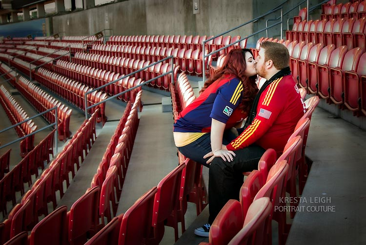 Engagement photos in the stadium....so fun!