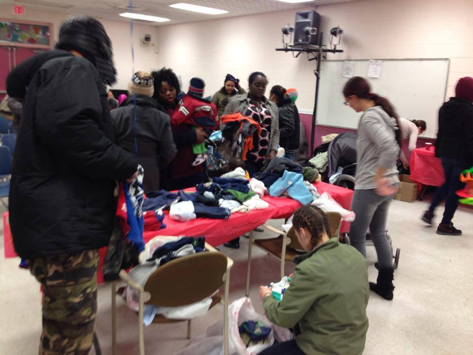 Families searching for items.