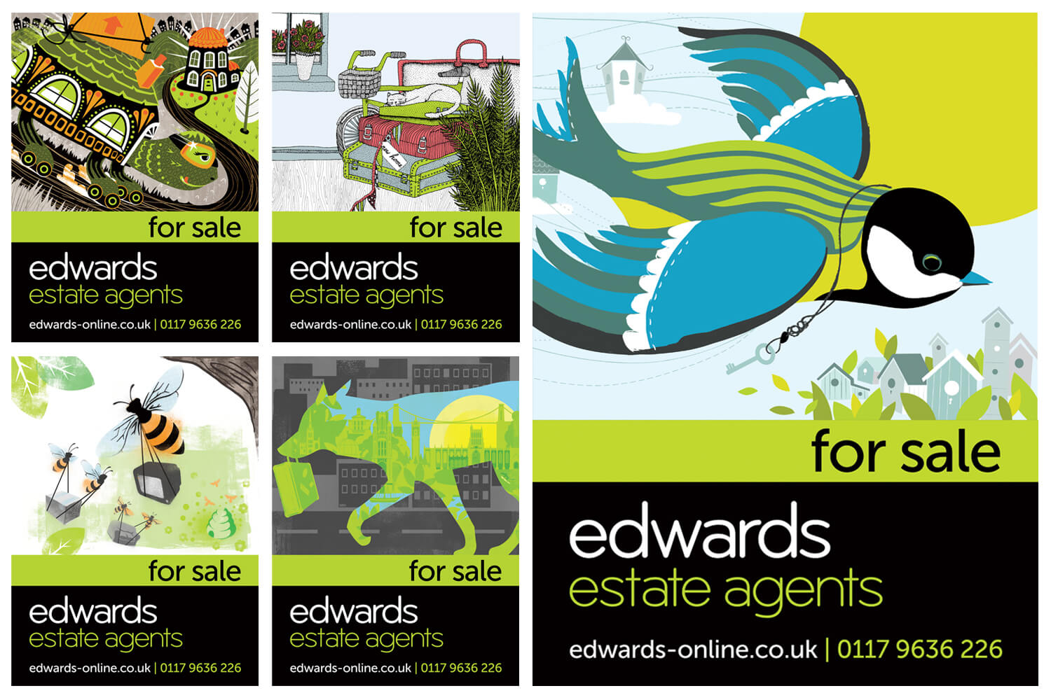 Set of Edwards sale boards. The 4 designs on the left were introduced initially, with the bird design added at a later date to mark the opening of a new branch. Illustrations by (clockwise from top left): Carys-ink,  Holly Maguire , Carys-ink,  Slumber  and  Michelle Barker
