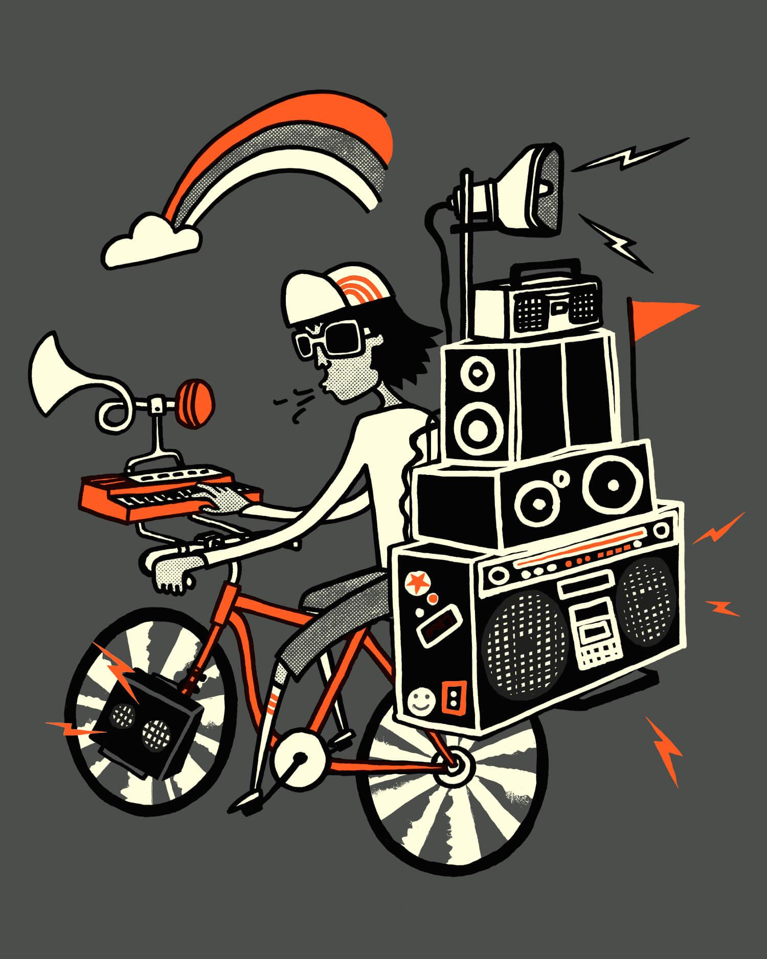 Boom Box Bike Illustration for Mild West Heroes