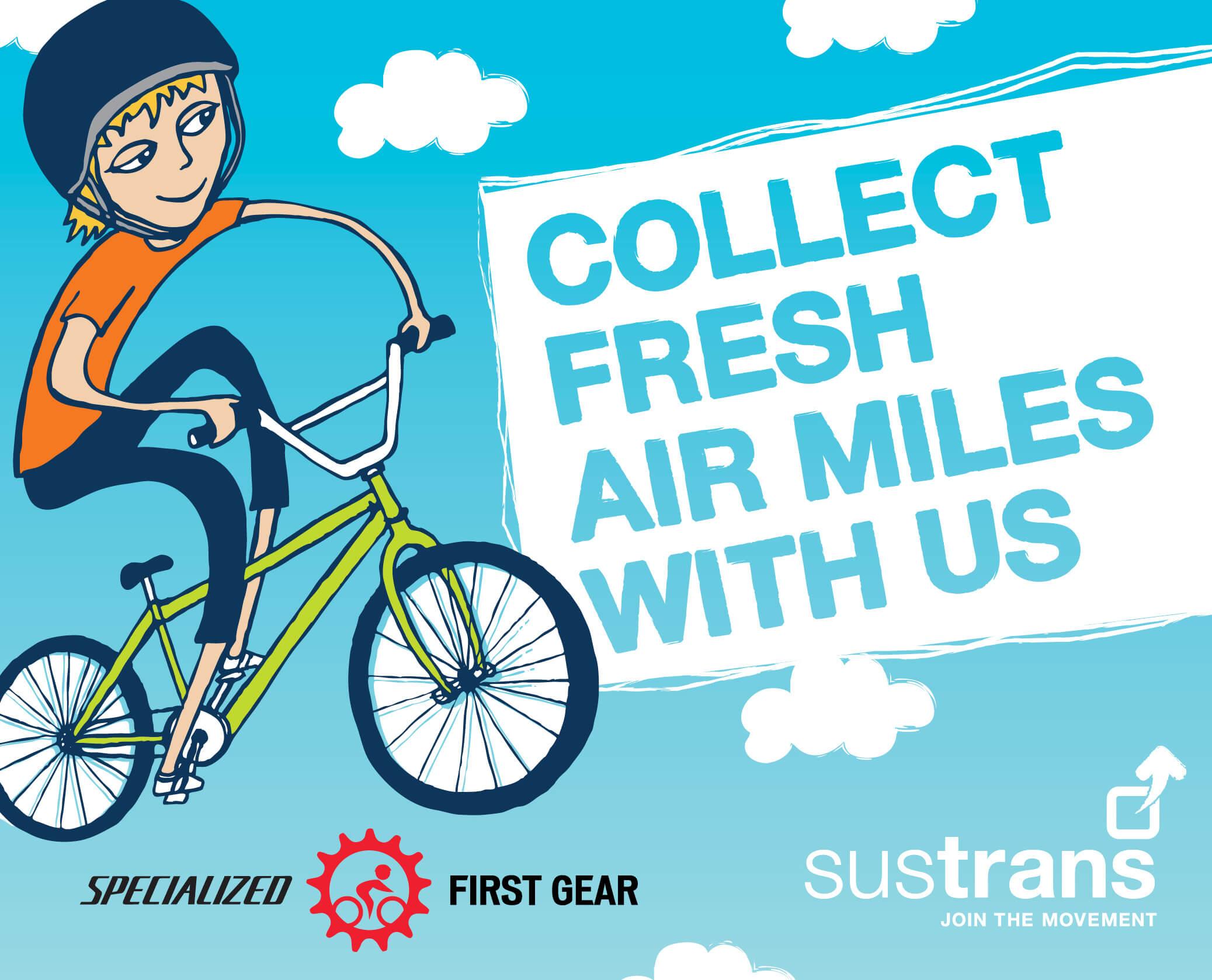 Sustrans - Collect Fresh Air Miles Flag 01