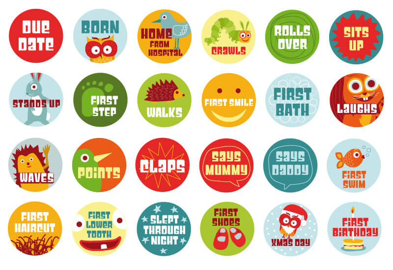 A selection of 'milestone' stickers