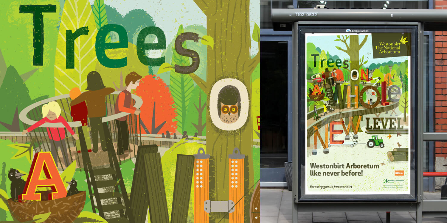 WESTONBIRT ARBORETUM | Campaign Illustration to publicise the opening of the new STIHL Treetop Walkway