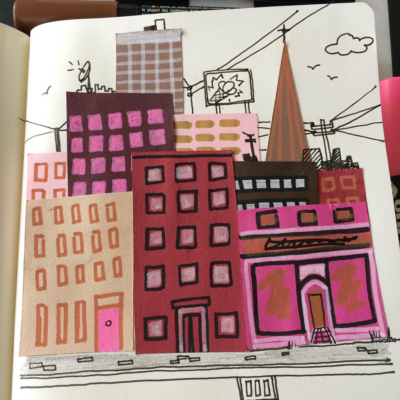 Neapolitan Metropolis. Ice cream colour cityscape
