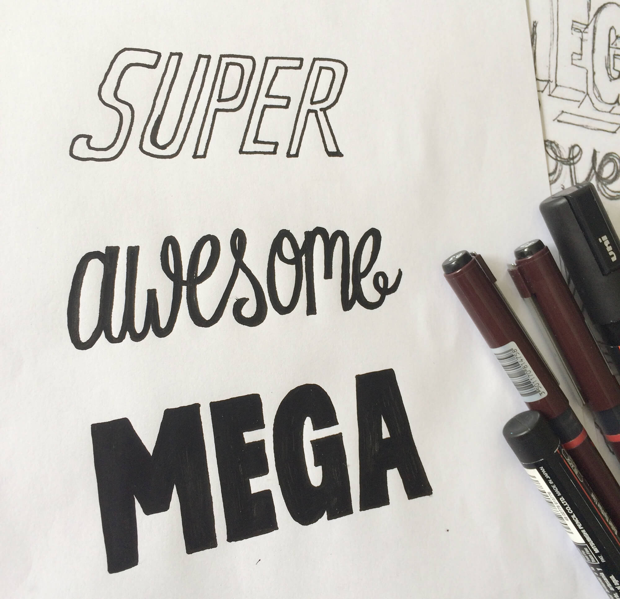 Super Awesome Mega Hand-drawn type