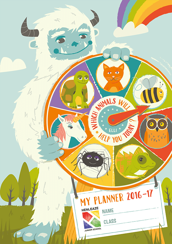 Second Planner Cover for the following year, incorporating 'ELLI' animals that are used to help explain particular learning traits