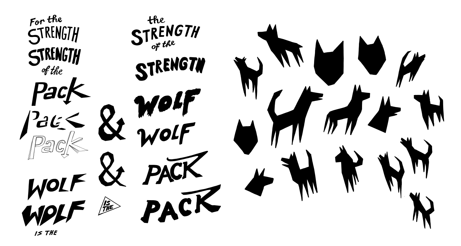 Hand drawn elements for the final piece