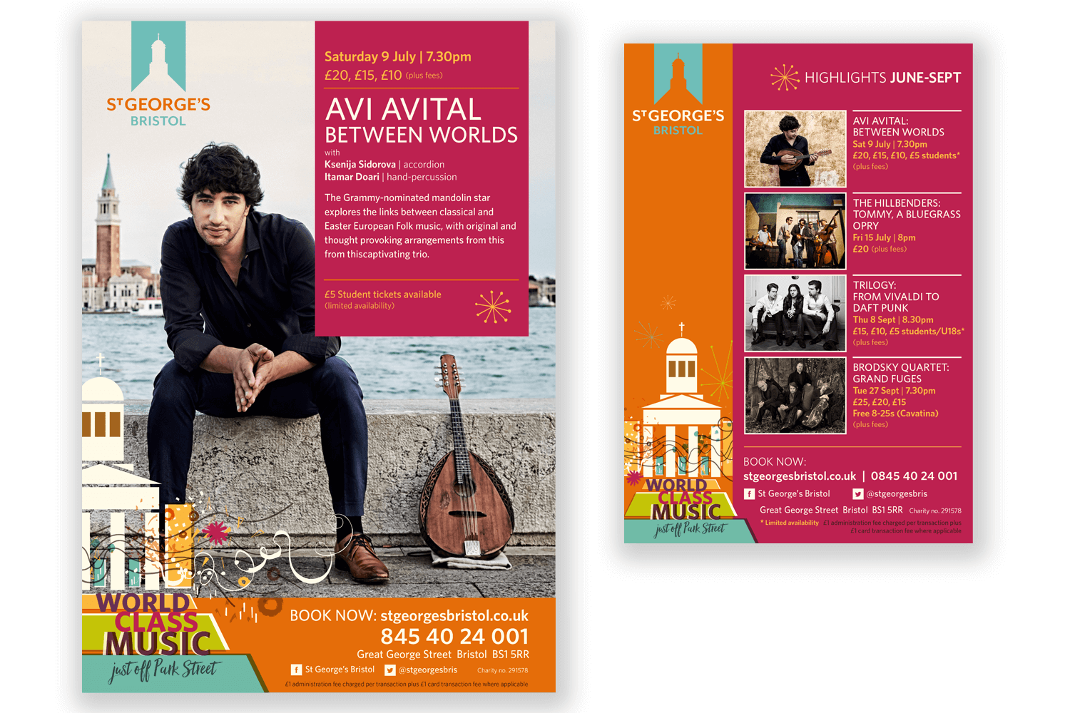 The identity was applied across all marketing materials. Above: Poster design and multi-event magazine advertisement