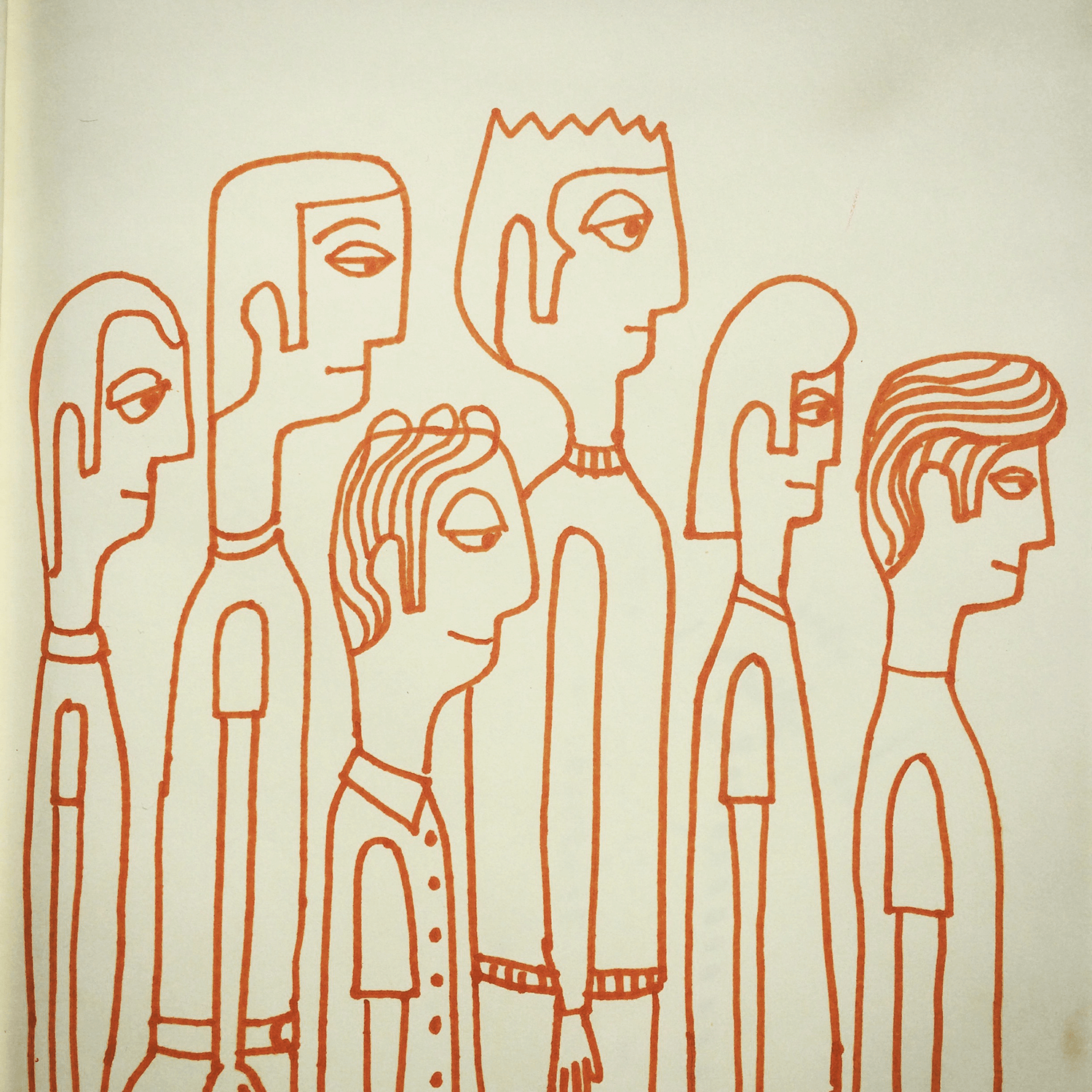 Queue. People doodle. Not sure what they're waiting for...