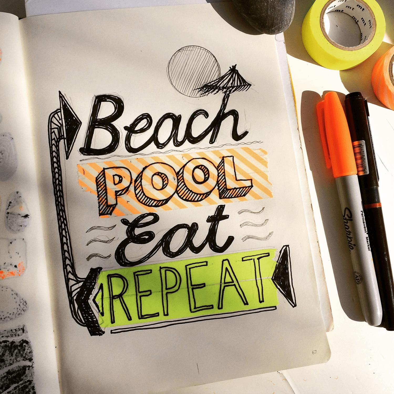 Holiday Sketchbook - Beach Pool Eat Repeat